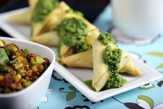 Crispy pockets of perfection: Curried Quinoa Samosas with Cilantro-Ginger Sauce.