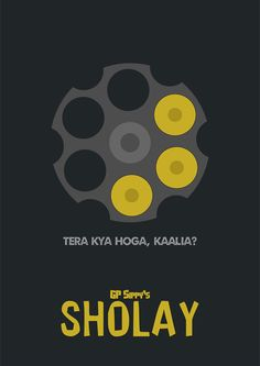 Sholay ~ Minimal Movie Poster by ChotaMota Designs Film Poster Design, Movie Poster Art, Film Posters, Funny Posters, Poster Series, Cinema Posters, Funky Quotes, Swag Quotes, Shirt Quotes