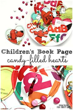 Children's Book Page Candy Filled Hearts. Fun Valentines idea. Kids will love this on Valentine's day!