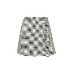 TopShop Dotty Frill Edge Mini Skirt ($68) ❤ liked on Polyvore featuring skirts, mini skirts, monochrome, polka dot skirt, ruffle skirt, white mini skirt, high-waist skirt and short white skirt