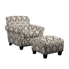 The Portfolio Mira arm chair and ottoman features a transitional design with rounded arms. The Mira chair and ottoman are covered in a stylish ikat design fabric.