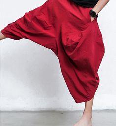 Free shipping Japanese Samurai Baggy Linen Cotton Bloomers Casual Boho Low Drop Crotch pants Oversized Hakama Sweatpants 70203