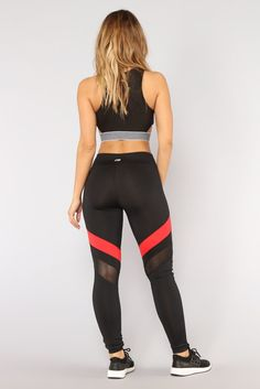 Available In Black Multi , Black/Red , And Black/WhitePerformance Active Leggings Mid-Rise Thick Waist Band Color Block Stripe Details Mesh Cut Out Polyester Spandex Contrast: Polyester Spandex Contrast Polyester Black Workout Leggings, Black Leggings, Red Fashion, Fasion, Contrast, Red Design, Design Model, Outfit, Nova