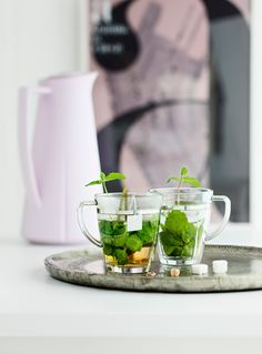 Zestaw 2 szklanek na gorące napoje - GRAND CRU SOFT - DECO Salon. Soft Grand Cru Glasses for hot drinks - from hot coffee, the aromatic tea and exotic blend of mint and ginger. Fresh Mint Tea, Grand Cru, V60 Coffee, Mojito, Moscow Mule Mugs, No Cook Meals, Drinks, Cooking, Tableware