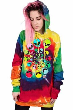 This super soft, neon tie dye pullover hoodie has our signature TRIPPY SPIRAL print on the front Female model is and wearing a size Medium. Tie Dye Sweatshirt, Fleece Hoodie, Grunge, Hipster, Sexy Girl, Mo S, Indie, Dope Outfits, Jacket Style