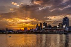 Sunset over Cincinnati,  Ohio, by Dawn Smith via Landscape Photography