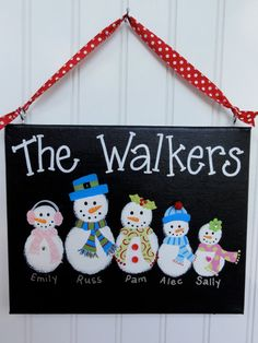 Snowman family canvas