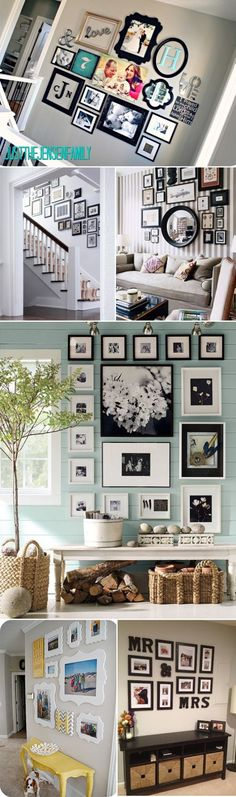 Great ideas for picture hanging arrangements!!                                                                                                                                                     More