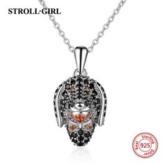 Strollgirl Authentic 100% 925 sterling silver Cute Dog Head Pave CZ Necklaces & Pendants Authentic Women Sterling Silver Jewelry Cheap Necklaces, Fashion Jewelry Necklaces, Metal Necklaces, Fashion Necklace, Jewelry Accessories, Metal Models, Necklace Types, Sterling Silver Jewelry, Pendants