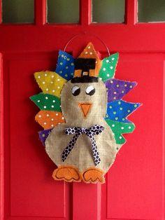 Thanksgiving Turkey Burlap Door Hanger By WreathDesignsByJess, $35.00