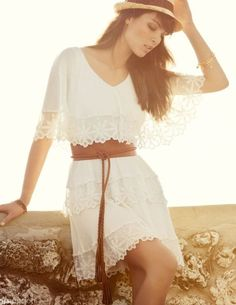 To find out about the White Lace Cascading Ruffle Sweet Dress at SHEIN, part of our latest Dresses ready to shop online today! Pretty Dresses, Beautiful Dresses, Mode Boho, Estilo Boho, Sweet Dress, Looks Style, Dress Me Up, White Lace, White Dress