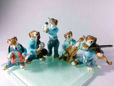 SET-DOG-MUSIC-BAND-HANDMADE-CERAMIC-FIGURINE-MINIATURE-DECOR-ANIMAL-COLLECTION