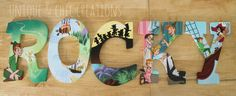 Vintage Peter Pan Themed Hand Painted Personalized Wooden