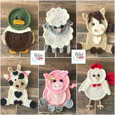 Crochet Pattern - Farm Animal Patterns - INSTANT PDF DOWNLOAD - Crochet Appliques - Applique Patterns - Horse - Cow - Pig - Duck -Chicken