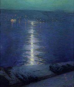 Moonlight on the River - Lowell Birge Harrison  1914