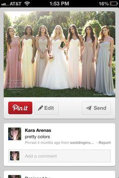 Muted rainbow bridesmaid dresses