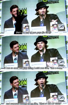 [gifset] Jensen and Jared during SDCC14 panel.