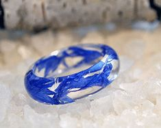 Blue resin ring, cornflowers ring, Engagement ring, Wedding ring, Promise ring, promise ring set, promise rings for couples, ring statement
