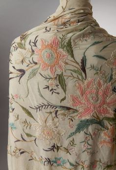 vintage shawl - throw over shoulders for a bit of country glamour and keep handy to shade shoulders. Couture Embroidery, Embroidery Fashion, Vintage Embroidery, Embroidery Art, Embroidery Stitches, Embroidery Patterns, Machine Embroidery, Needlepoint Stitches, Embroidery Suits Design