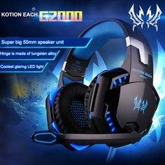 KOTION EACH G2000 Gaming Headset Wired earphone With Microphone Led Noise High Quality Neckband Game Headphones For Computer PC