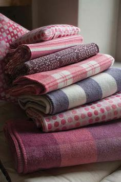 Melin Tregwynt - Woven in Wales woollen blankets throws cushions in pink rose Welsh Blanket, Wool Blanket, Textiles, Cozy Blankets, Cottage Blankets, Living At Home, Beautiful Bedrooms, Soft Furnishings, Warm And Cozy