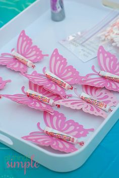 20 Perfect Princess Party Ideas for kids - MatchingLook - Mom & Daughter Matching Outfits, Maternity Clothes - 20 Perfect Princess Party Ideas for kids Fairy Princess Birthday Party Favors--Butterflies More - Butterfly Birthday Party, Fairy Birthday Party, Birthday Party Favors, Girl Birthday, Birthday Parties, Birthday Ideas, Butterfly Party Favors, Princess Birthday Party Decorations, Garden Birthday