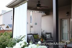 Shorten the curtains and hang on the neighbor's side of the pergola Outdoor Privacy Curtains Easy and creative ways to create more privacy in your backyard or on your deck. Privacy Screen Outdoor, Backyard Privacy, Outdoor Pergola, Outdoor Rooms, Backyard Patio, Outdoor Decor, Pergola Kits, Pergola Ideas, Backyard Ideas
