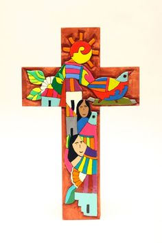 Small wooden cross by raizesa on Etsy Fernando Llort's desings Arte Country, First Communion Gifts, Cross Art, Cross Crafts, Picture Story, Cross Paintings, Pyrography, Folk Art, Religion