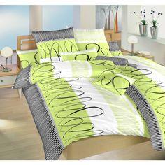 Povlečení EVELÍNA KIWI, zelené pruhy a ornamenty, flanel, 140x200cm + 70x90cm | TextilCentrum.cz