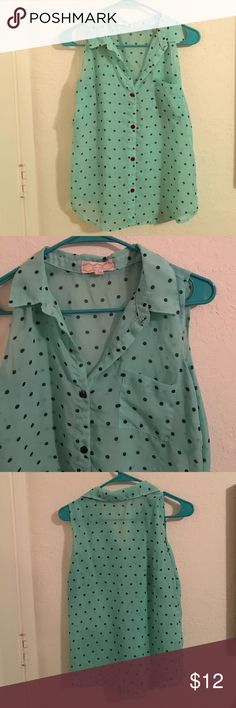 Dotted tank! Sea foam tank with navy blue dots. Collar. Front pocket. Sheer, I'd pair it with a cami or bralette. Pink Rose Tops Tank Tops