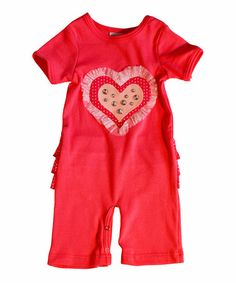 Love this Red & White Polka Dot Jewel Heart Playsuit - Infant on #zulily! #zulilyfinds