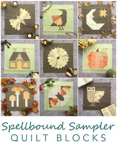 Nine original blocks created for the Spellbound Sampler A quilt that celebrates the imagery of autumn: turning leaves & misty mornings; festivals of fire & fairy tales at bedtime. Halloween Quilt Patterns, Halloween Quilts, Quilting Projects, Quilting Designs, Quilting 101, Quilting Board, Sewing Projects, Dresden Plate Quilts, Quilt Display