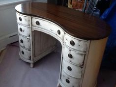 I painted this desk for a client, a Christmas gift for her daughter.   Heirloom White Paint from Rustoleum's American Accents . Shabbied it. Used gel stain in dark walnut to refinish the top and as a wipe on and off over all painted shabby areas. Also used gel stain to darken the tired brass hardware!  Gotta love shabby!