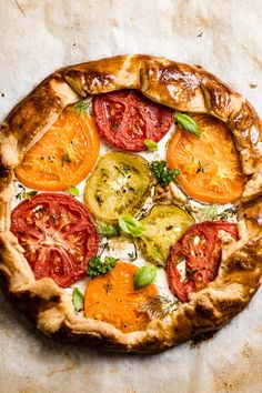 A free form galette spread with fresh sliced summer tomatoes, herbed goat cheese and baked in a homemade galette dough. #galette #tomatogalette #savorygalette #foolproofliving Vegan Vegetarian, Vegetarian Recipes, Healthy Recipes, Galette Recipe, Summer Tomato, Dessert For Dinner, Food For Thought, I Foods, Vegetable Pizza