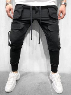 Model:Slim Thickness:Thin Length:Ankle Length Trousers Shape:Pencil Pants Waist Line:Mid Waist Closure Type:Lace-Up Elasticity:Micro-Elastic With Belt:No. Jogger Pants Style, Sport Pants, Men Pants, Fashion Pants, Mens Fashion, Slim Fit Joggers, Black Pants, Casual Pants, Street Wear