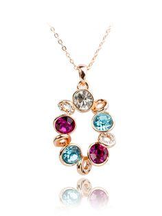 Collar cristal pendiente-(Sheinside)