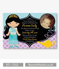 Personalised Aladdin Jasmine Photo Invitations.  Printed on Professional 300 GSM smooth card with free envelopes & delivery as standard. www.beyondtheink.co.uk