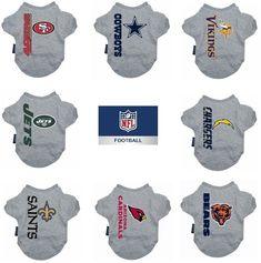 64af42ef5 NFL Pet Cat   Dog Grey Tee Shirt SM - XLarge Size Multiple Teams U PICK   Hunter