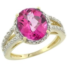 10K Yellow Gold Natural Pink Topaz Diamond Halo Ring Oval 11x9mm, size 9.5, Women's