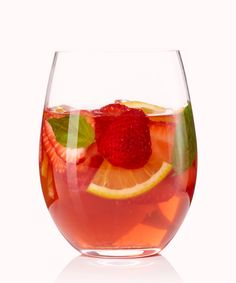 This strawberry-basil sangria is summer in a glass. Not to mention, it couldn't be easier to whip up! Get the full recipe, courtesy of chef Helene Henderson of SoCal eatery Malibu Farm. Festive Cocktails, Fancy Drinks, Cocktail Drinks, Sangria Recipes, Drinks Alcohol Recipes, Wine Recipes, Alcoholic Drinks, Fall Sangria, Rose Sangria