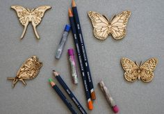 Butterfly set of 4 pcs laser cut plywood cutouts with engraving for DIY projects craft supplies by woodandroot. the best idea for art therapy :) ! (Craft Supplies & Tools  Scrapbooking Supplies  Embellishments & Die Cuts  wood  Supplies  scrapbooking  badge  pin brooch  Patches  butterfly  flying  insect  drawing  Art  therapy)
