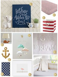 Inspiration for a boy / girl twin nursery - anchors, nautical, preppy with touches of pink for the little girl :)
