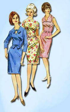 1960s Vintage Butterick Sewing Pattern 3768 Uncut Plus Size Sheath Dress 40 Bust