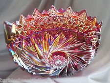 """L.E. Smith Carnival Glass Bowl Red Iridescent """"Comet In The Stars"""" Pattern"""