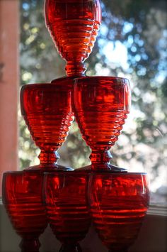 Ruby red depression glass water goblets