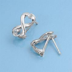 Sterling Silver Infinity Heart Stud Earrings $19.95