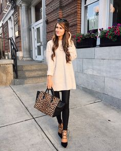 Oversized sweater and faux leather leggings