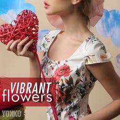 Vibrant floral print dress. #yokko #floralprint #vibrantflowers #madeinromania #spring18 Daytime Dresses, Flower Prints, Vibrant, Floral, Flowers, How To Make, Floral Patterns, Floral Prints, Royal Icing Flowers