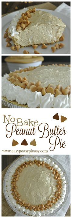 No Bake Make Ahead Peanut Butter Pie Easy Make Ahead No Bake Peanut Butter Pie is perfect for the holidays or any event.Easy Make Ahead No Bake Peanut Butter Pie is perfect for the holidays or any event. Make Ahead Desserts, Easy No Bake Desserts, No Bake Treats, Delicious Desserts, Holiday Desserts, Desserts Diy, Holiday Baking, Healthy Desserts, Holiday Parties