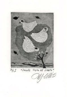 Where the Wind Blows art print etching by mariannjohansenellis, $35.00